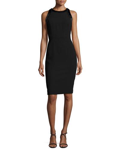 Sleeveless Cutout Crepe Cocktail Dress, Black