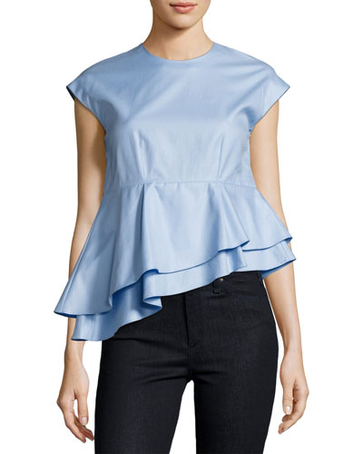 Asymmetric Peplum Babydoll Top, Blue