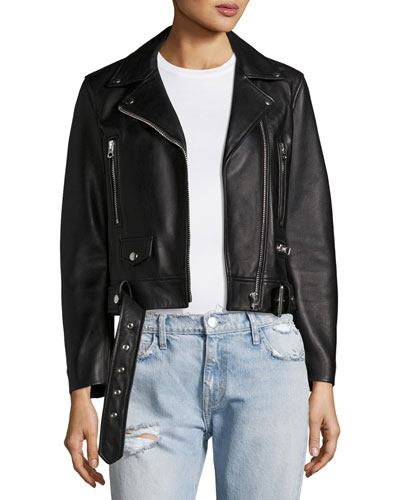 Mock Leather Moto Jacket, Black