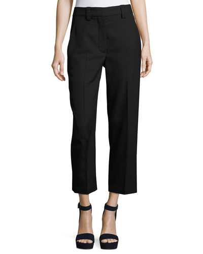 Trea Cropped Wool Pants, Black