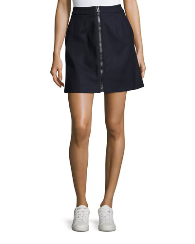 Suraya Zip-Front Flannel Skirt, Navy