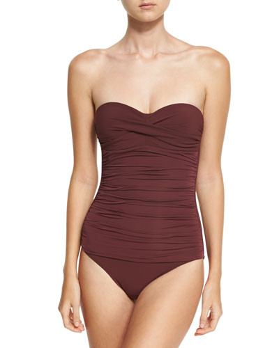 Body Ruched Control Bandeau One-Piece Swimsuit, Purple