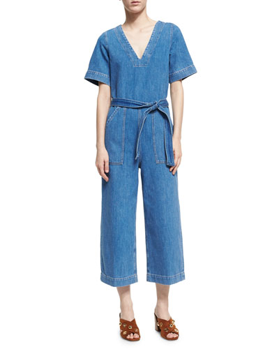 Hart Deep V All-in-One Jumpsuit, Blue