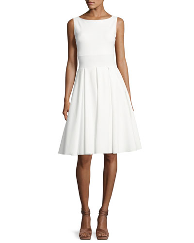 Doutzen Sleeveless Pleated Cutout Dress, White