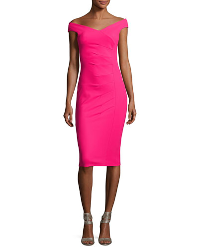 Maureen Ruched Jersey Sheath Dress, Fuchsia