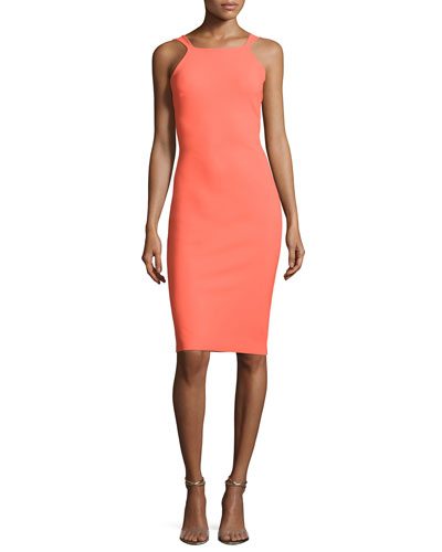 Marie Laure Sleeveless Sheath Cocktail Dress, Apricot