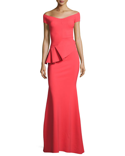 Lamia Off-the-Shoulder Peplum Jersey Gown, Aragosta