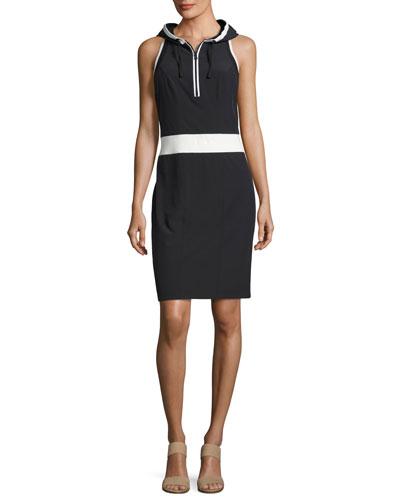 Relax Sleeveless Hooded Athletic Dress, Black-White