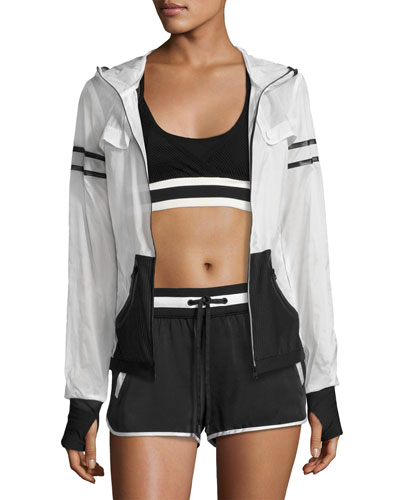 Moonlight Zip-Front Performance Jacket, White/Black