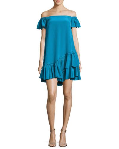 Minella Off-the-Shoulder Ruffled Mini Dress, Blue