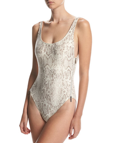 U-Back Side-Zip One-Piece Swimsuit, Beige