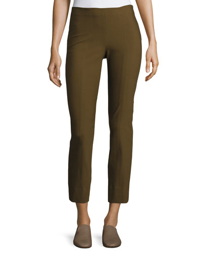 Stitch-Front Seamed Leggings, Dark Willow