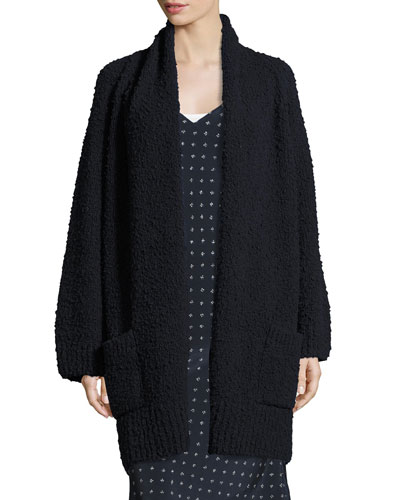Textured Wool Oversized Cardigan, Coastal