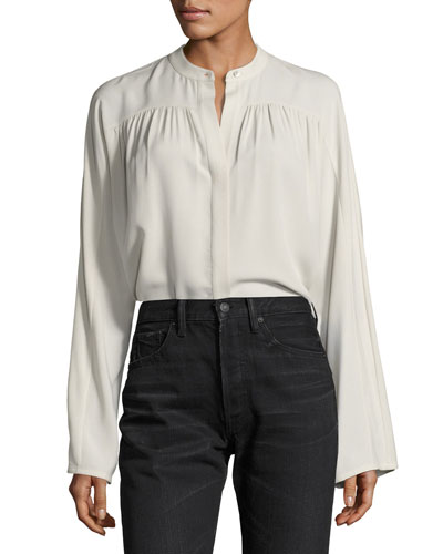 Shirred Long-Sleeve Silk Blouse