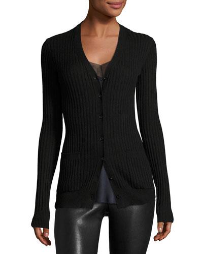 Rib Skinny Cashmere Cardigan Sweater, Black