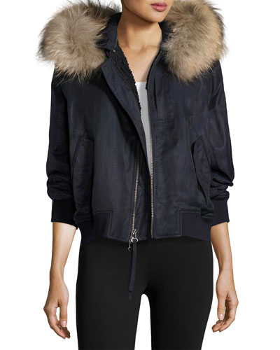 Fur-Trimmed Bomber Jacket, Coastal