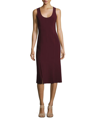 Mireille Sleeveless Scoop-Neck Ponte Dress, Wine