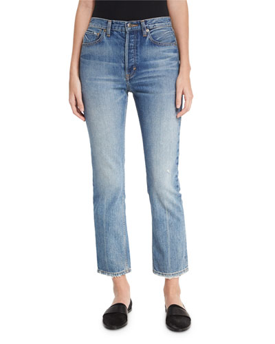 High-Rise Vintage Straight-Leg Jeans, Med Wash