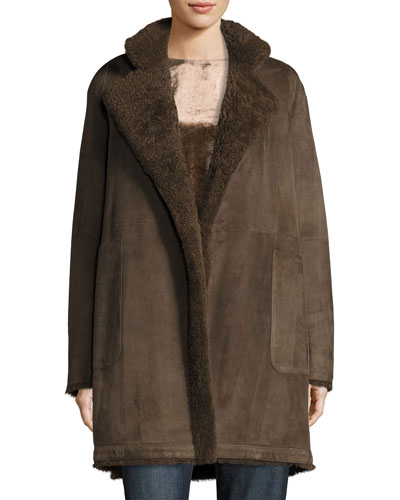 Reversible Teddy Shearling Fur Coat, Dark Willow