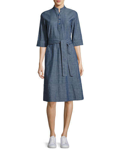 Oleson Cotton Shirtdress, Indigo