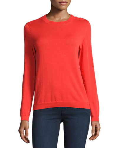Long-Sleeve Button-Shoulder Top, Coral