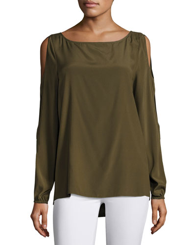 Madden Long Slit Sleeves Top, Green