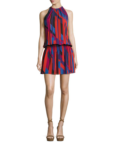 Ibiza Geo Sleeveless Printed Paris Dress, Red
