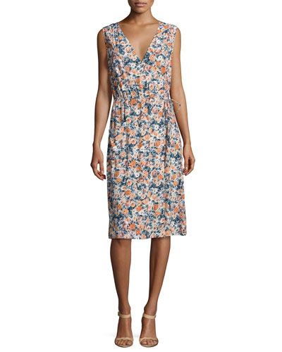 The Sleeveless Floral-Print Wrap Dress, Multi
