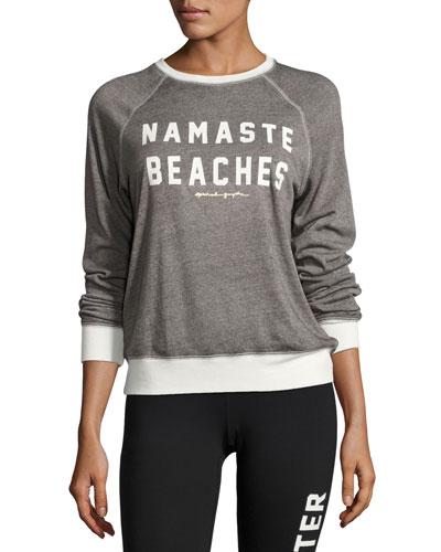 Namaste Beaches Boyfriend Sweatshirt, Gray