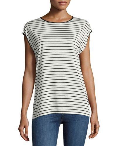 Toni Striped Cap-Sleeve Tee