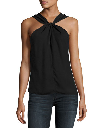 Collins High-Neck Sleeveless Top, Black