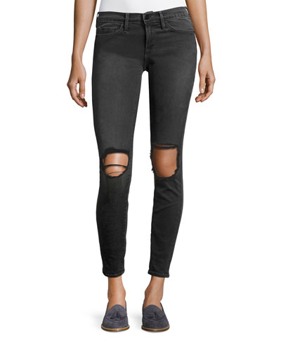 Le Skinny De Jeanne Distressed Jeans, Black