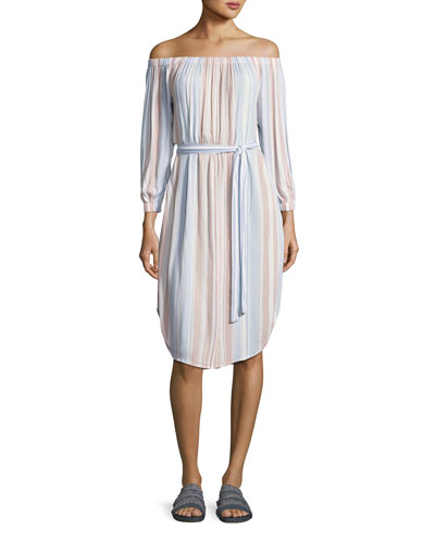 Michelle Off-Shoulder Striped Gauze Dress, Multi