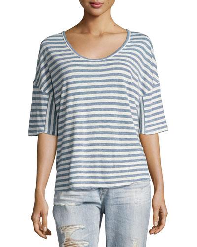 Glen Short-Sleeve Striped Linen Tee, Blue
