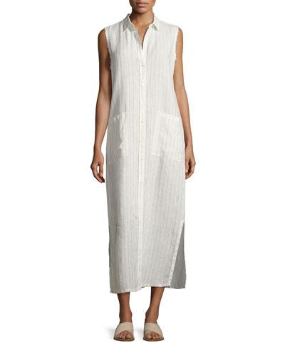 Boyfriend Striped Linen Long Shirtdress, White/Black