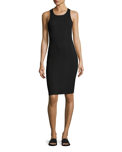 Variegated Ribbed Tank Dress, Black