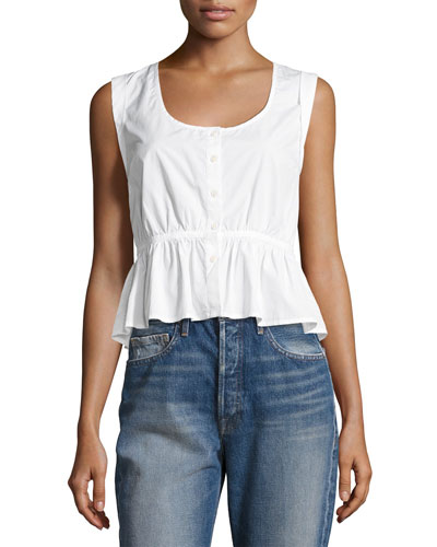 Sleeveless Tie-Back Peplum Blouse, White