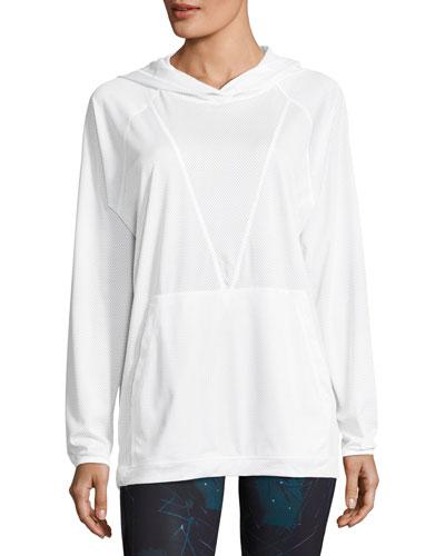Mesh Drawstring Hoodie Sweatshirt, White