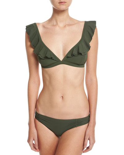 Ruffle Bikini Swim Top, Green