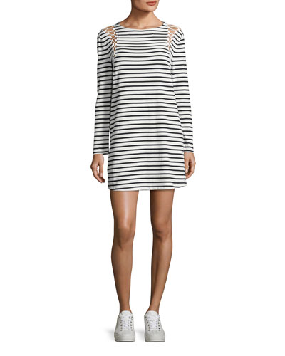 Chapman Striped Cotton Dress, White/Blue
