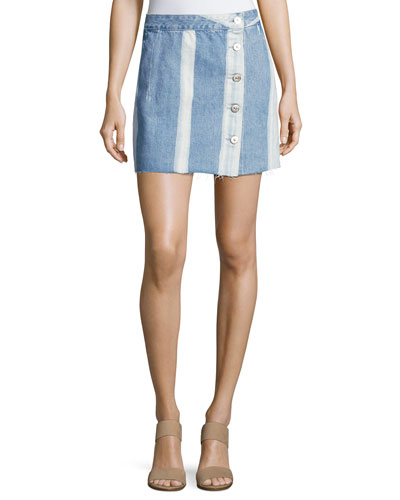 Higher Ground Pinto Stripe Denim Mini Skirt, Blue