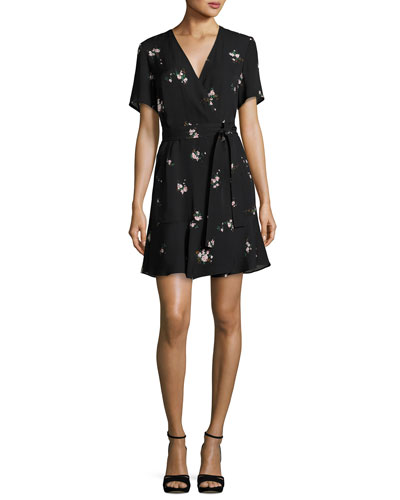 Micah Floral-Print Silk Dress, Black Pattern
