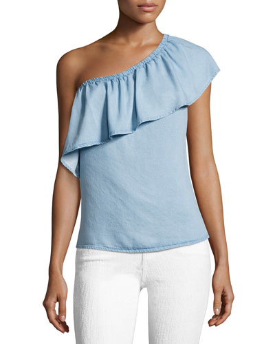 One-Shoulder Ruffled Denim Top, Indigo