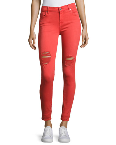 The Ankle Distressed Skinny Jeans, Red