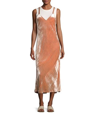 Annex V-Neck Velvet Maxi Dress, Pink