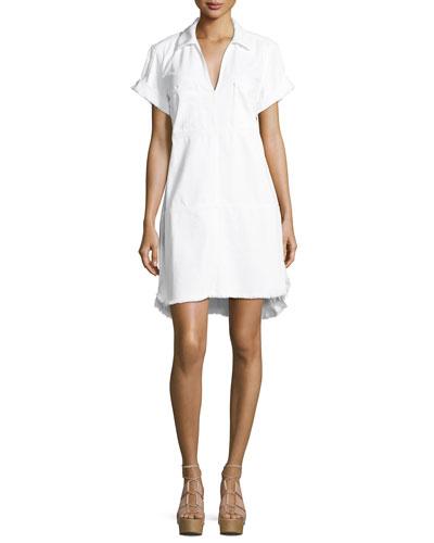 Short-Sleeve Denim Dress W/ Raw Hem, White