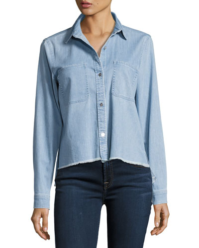 Step-Hem Button-Front Denim Shirt, Blue