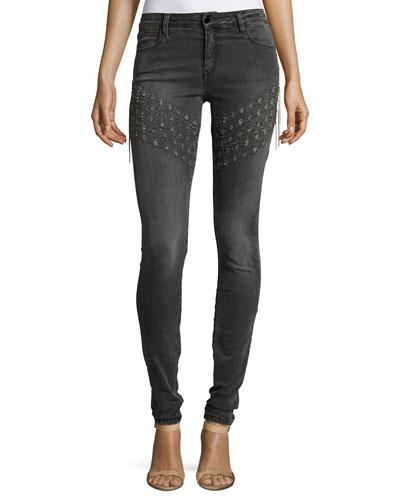 Plaza Emma Chain Embroidered Skinny Denim Jeans, Gray