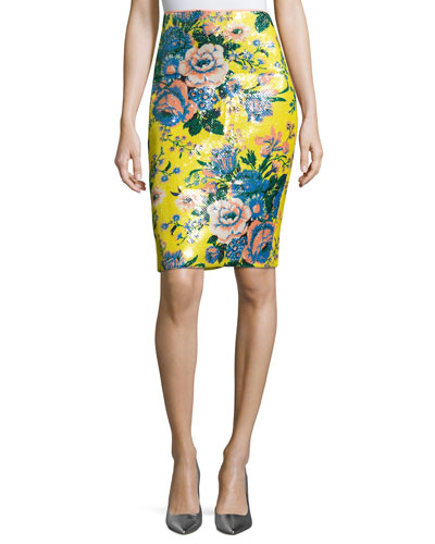 Tailored Floral-Print Pencil Skirt, Multi