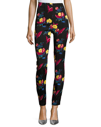 High-Waisted Skinny Pants, Black Floral